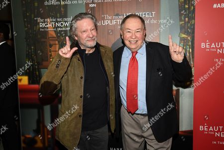 """Chris Cooper, David Newell. Actors Chris Cooper, left, and David Newell, who played Mr. McFeely in the original """"Mister Rogers' Neighborhood,"""" pose together at a special screening of """"A Beautiful Day In The Neighborhood"""" at the Henry R. Luce Auditorium, in New York"""