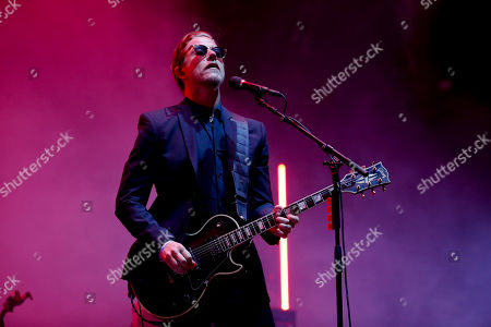 Stock Image of Paul Banks of the American rock band Interpol performs during the Corona Capital music festival in Mexico City