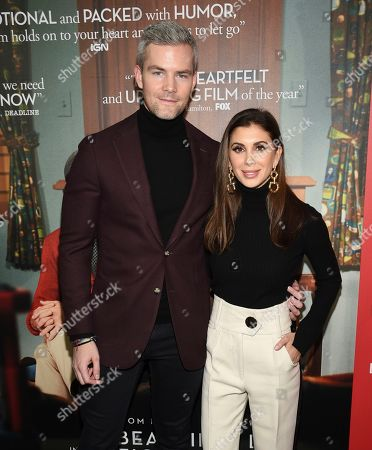 "Ryan Serhant, Emilia Bechrakis. Ryan Serhant, left, and wife Emilia Bechrakis attend a special screening of ""A Beautiful Day In The Neighborhood"" at the Henry R. Luce Auditorium, in New York"