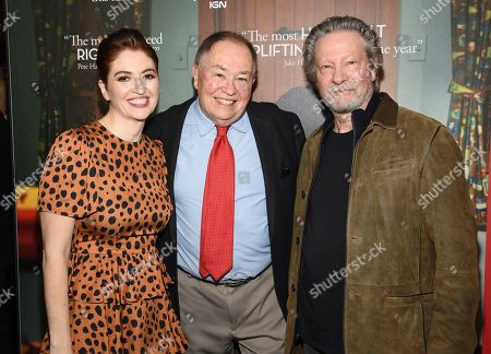 """Marielle Heller, David Newell, Chris Cooper. Director Marielle Heller, left, actor David Newell, who played Mr. McFeely in the original """"Mister Rogers' Neighborhood"""", and actor Chris Cooper pose together at a special screening of """"A Beautiful Day In The Neighborhood"""" at the Henry R. Luce Auditorium, in New York"""