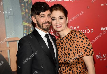 """Stock Photo of Jorma Taccone, Marielle Heller. Director Marielle Heller, right, poses with husband Jorma Taccone at a special screening of """"A Beautiful Day In The Neighborhood"""" at the Henry R. Luce Auditorium, in New York"""