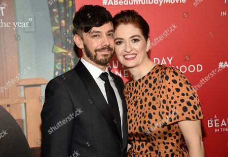 """Stock Image of Jorma Taccone, Marielle Heller. Director Marielle Heller, right, poses with husband Jorma Taccone at a special screening of """"A Beautiful Day In The Neighborhood"""" at the Henry R. Luce Auditorium, in New York"""