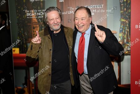 """Chris Cooper, David Newell. Actors Chris Cooper, left, and David Newell, who played Mr. McFeely in the original """"Mister Rogers' Neighborhood"""", pose together at a special screening of """"A Beautiful Day In The Neighborhood"""" at the Henry R. Luce Auditorium, in New York"""