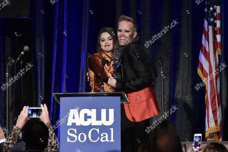 Selena Gomez, Justin Tranter. Selena Gomez, left, and Justin Tranter onstage at the 2019 ACLU SoCal's Annual Bill of Rights Dinner at the Beverly Wilshire Hotel, in Beverly Hills, Calif