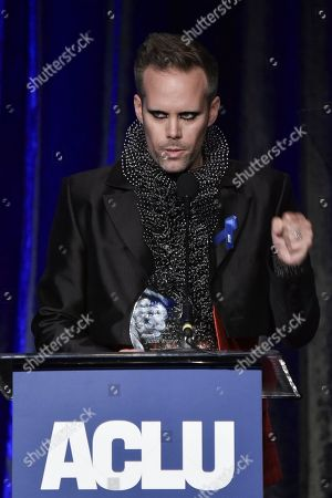Justin Tranter speaks at the 2019 ACLU SoCal's Annual Bill of Rights Dinner at the Beverly Wilshire Hotel, in Beverly Hills, Calif