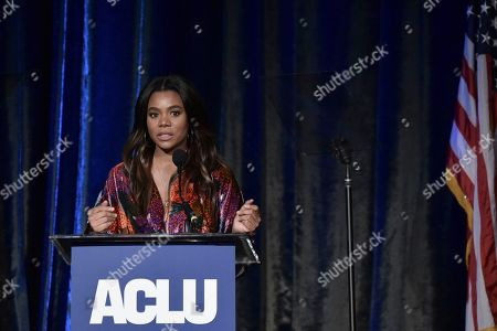 Stock Picture of Regina Hall speaks at the 2019 ACLU SoCal's Annual Bill of Rights Dinner at the Beverly Wilshire Hotel, in Beverly Hills, Calif