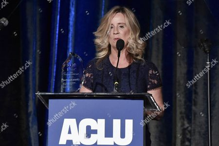 Stock Photo of Christine Blasey Ford speaks at the 2019 ACLU SoCal's Annual Bill of Rights Dinner at the Beverly Wilshire Hotel, in Beverly Hills, Calif