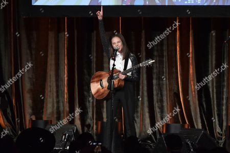Stock Image of Breanna Yde performs at the 2019 ACLU SoCal's Annual Bill of Rights Dinner at the Beverly Wilshire Hotel, in Beverly Hills, Calif