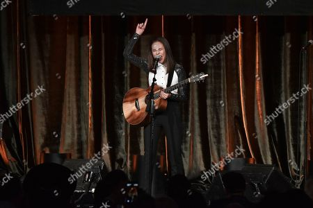 Breanna Yde performs at the 2019 ACLU SoCal's Annual Bill of Rights Dinner at the Beverly Wilshire Hotel, in Beverly Hills, Calif