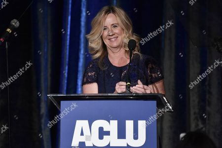 Christine Blasey Ford speaks at the 2019 ACLU SoCal's Annual Bill of Rights Dinner at the Beverly Wilshire Hotel, in Beverly Hills, Calif