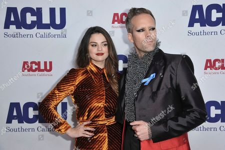 Stock Photo of Selena Gomez, Justin Tranter. Selena Gomez, left, and Justin Tranter attend the 2019 ACLU SoCal's Annual Bill of Rights Dinner, in Beverly Hills, Calif