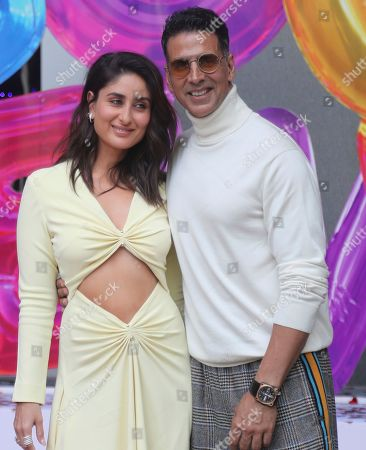 Akshay Kumar, Kareena Kapoor. Bollywood actors Akshay Kumar, right, along with Kareena Kapoor pose for photographs during the trailer launch of their upcoming film Good Newwz in Mumbai, Monday, Nov.18, 2019. The film is scheduled to be released on