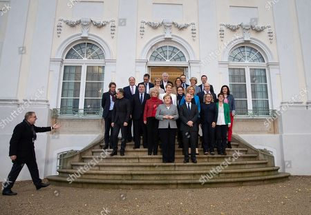 (first row, L-R) Minister of Foreign Affairs Heiko Maas, German Chancellor Angela Merkel, Minister of Finance Olaf Scholz, Minister for the Environment, Nature Conservation, Building and Nuclear Safety Svenja Schulze, Minister of Defence Annegret Kramp-Karrenbauer, (second row, L-R) Minister of Transport Andreas Scheuer, Minister of Labour and Social Affairs Hubertus Heil, Minister of Justice and Consumer Protection Christine Lambrecht, Minister for Family Affairs, Senior Citizens, Women and Youth Franziska Giffey, Minister of State at the Federal Foreign Office Michelle Muentefering, Minister of Food and Agriculture Julia Kloeckner, Minister of Economics and Energy Peter Altmaier, State Secretary for Digitalization Dorothee Baer, Head of the Chancellery and Federal Minister for Special Affairs Helge Braun, Minister for Economic Cooperation and Development Gerd Mueller, Minister of Education and Research Anja Karliczek, Minister of Interior, Construction and Homeland Horst Seehofer, Minister of State at the Chancellery for Migration, Refugees and Integration Annette Widmann-Mauz, Minister of Health Jens Spahn, Minister of State for Culture and Media Monika Gruetters, Spokesman of the German government Steffen Seibert and Minister of State for Bureaucracy Reduction and Federal-State Relations Hendrik Hoppenstedt pose for a group photo prior to a cabinet meeting at the Meseberg palace in Gransee, Germany, 18 November 2019. The German cabinet meets from 17 to 18 November 2019 for a retreat.