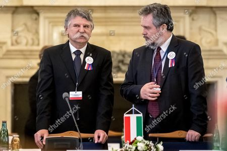 Speaker of the Hungarian Parliament Laszlo Kover (L) attends Conference of Presidents and Speakers of Parliaments of V4 (Visegrad Group) countries on the occasion of the 30th anniversary of the Velvet Revolution in Prague, 18. November 2019. The Czech Republic celebrates the 30th anniversary of the Velvet Revolution commemorating the events of 17 November 1989, when after the brutal suppression of a student demonstration at Narodni street, the communist leadership soon crumbled and the playwright and human rights activist Vaclav Havel became president shortly thereafter.