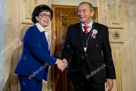 Czech President of Senate Jaroslav Kubera (R) welcomes Polish Sejm Speaker Elzbieta Witek (L) before Conference of Presidents and Speakers of Parliaments of V4 (Visegrad Group) countries on the occasion of the 30th anniversary of the Velvet Revolution in Prague, 18 November 2019. The Czech Republic celebrates the 30th anniversary of the Velvet Revolution commemorating the events of 17 November 1989, when after the brutal suppression of a student demonstration at Narodni street, the communist leadership soon crumbled and the playwright and human rights activist Vaclav Havel became president shortly thereafter.
