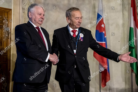 Czech President of Senate Jaroslav Kubera (R) welcomes Polish Deputy Sejm Speaker Bogdan Borusewicz (L) before Conference of Presidents and Speakers of Parliaments of V4 (Visegrad Group) countries on the occasion of the 30th anniversary of the Velvet Revolution in Prague, 18 November 2019. The Czech Republic celebrates the 30th anniversary of the Velvet Revolution commemorating the events of 17 November 1989, when after the brutal suppression of a student demonstration at Narodni street, the communist leadership soon crumbled and the playwright and human rights activist Vaclav Havel became president shortly thereafter.