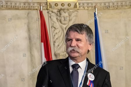 Speaker of the Hungarian Parliament Laszlo Kover arrives for Conference of Presidents and Speakers of Parliaments of V4 (Visegrad Group) countries on the occasion of the 30th anniversary of the Velvet Revolution in Prague, 18. November 2019. The Czech Republic celebrates the 30th anniversary of the Velvet Revolution commemorating the events of 17 November 1989, when after the brutal suppression of a student demonstration at Narodni street, the communist leadership soon crumbled and the playwright and human rights activist Vaclav Havel became president shortly thereafter.