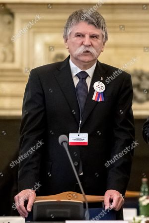 Stock Picture of Speaker of the Hungarian Parliament Laszlo Kover attends Conference of Presidents and Speakers of Parliaments of V4 (Visegrad Group) countries on the occasion of the 30th anniversary of the Velvet Revolution in Prague, 18. November 2019. The Czech Republic celebrates the 30th anniversary of the Velvet Revolution commemorating the events of 17 November 1989, when after the brutal suppression of a student demonstration at Narodni street, the communist leadership soon crumbled and the playwright and human rights activist Vaclav Havel became president shortly thereafter.