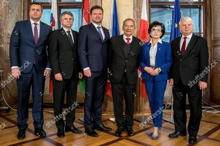 Stock Photo of (L-R) Speaker of the Slovak Parliament Andrej Danko, Speaker of the Hungarian Parliament Laszlo Kover, Speaker of the Czech Chamber of Deputies Radek Vondracek, Czech President of Senate Jaroslav Kubera, Polish Sejm Speaker Elzbieta Witek and Polish Deputy Sejm Speaker Bogdan Borusewicz pose for photographers during Conference of Presidents and Speakers of Parliaments of V4 (Visegrad Group) countries on the occasion of the 30th anniversary of the Velvet Revolution in Prague, 18 November 2019. The Czech Republic celebrates the 30th anniversary of the Velvet Revolution commemorating the events of 17 November 1989, when after the brutal suppression of a student demonstration at Narodni street, the communist leadership soon crumbled and the playwright and human rights activist Vaclav Havel became president shortly thereafter.