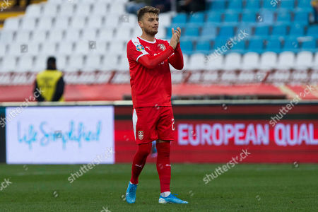 Adem Ljajic of Serbia applauds to his team mates