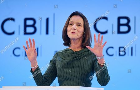 Carolyn Fairbairn, Director-General of the CBOI, delivers a speech at the annual Confederation of British Industry (CBI) conference in London, Britain, 18 November 2019. All party leaders are pitching their business policy to Britain's business community. Britons go the polls 12 December in a general election.