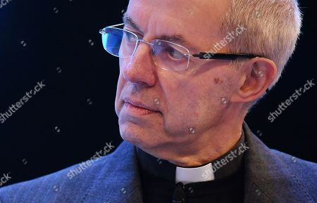Archbishop of Canterbury Justin Welby attends the annual Confederation of British Industry (CBI) conference in London, Britain, 18 November 2019. All party leaders are pitching their business policy to Britain's business community. Britons go the polls 12 December in a general election.