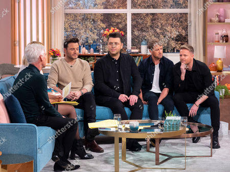 Phillip Schofield, Holly Willoughby with Westlife - Shane Filan, Mark Feehily, Kian Egan and Nicky Byrne