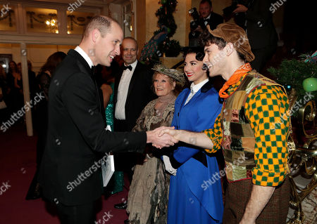 Prince William meeting Zizi Vaigncourt-Strallen (as Mary Poppins), Charlie Stemp (as Bert) and Petula Clark (as Bird Lady)