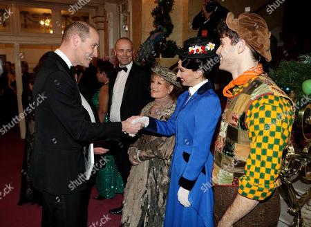 Stock Picture of Prince William meeting Zizi Vaigncourt-Strallen (as Mary Poppins), Charlie Stemp (as Bert) and Petula Clark (as Bird Lady)