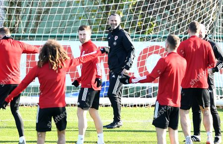 Wales manager Ryan Giggs looks on during training.