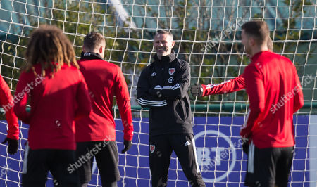 Wales manager Ryan Giggs looks on during training ahead of their Euro 2020 Qualifier against Hungary