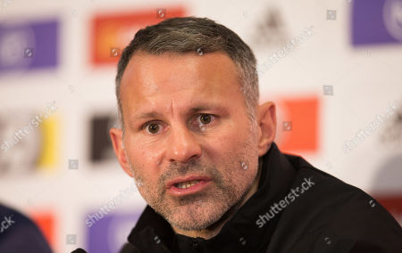 Stock Image of Wales manager Ryan Giggs speaks to the media during press conference ahead of the Euro 2020 Qualifier against Hungary