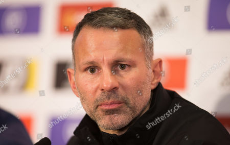 Stock Photo of Wales manager Ryan Giggs speaks to the media during press conference ahead of the Euro 2020 Qualifier against Hungary