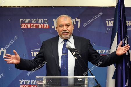 Avigdor Lieberman, leader of the Israel Beitenu Party, speaks during his party meeting at the Israeli Knesset (parliament) in Jerusalem, Israel, 18 November 2019. Leader of the Blue and White party Benny Gantz has less than 48 hours until November 20, midnight, to use his mandate to form a government coalition. According to reports, negotiations between the Likud Party and the Blue and White Party continued without any solution.