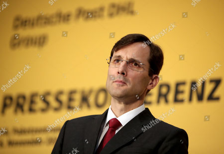 Stock Image of Tobias Meyer, DHL Group Board Member Post and Parcel Germany attends the oppening of the new 'Deutsche Post' DHL shipping center in Bochum, Germany, 18 November 2019. Deutsche Post DHL opens a new mega parcel centre in Bochum. With a sorting capacity of up to 50,000 shipments per hour, it is one of the most efficient parcel centres in Europe.