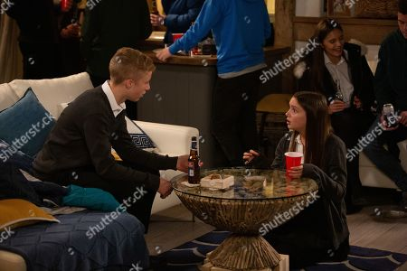 Ep 8651 & 8652 Tuesday 19th November 2019  At a party, Noah Tate, as played by Jack Downham, is horrified when Sarah Sugden, as played by Katie Hill, swallows a pill that Danny and Jayden have given to her.