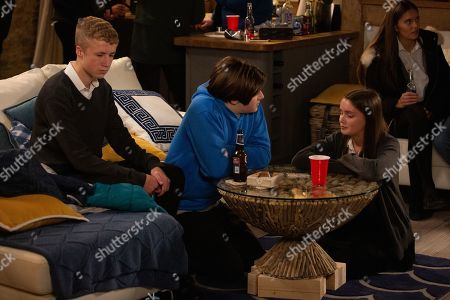 Ep 8651 & 8652 Tuesday 19th November 2019  At a party, Noah Tate, as played by Jack Downham, is horrified when Sarah Sugden, as played by Katie Hill, swallows a pill that Danny, as played by Louis Healey, and Jayden have given to her.