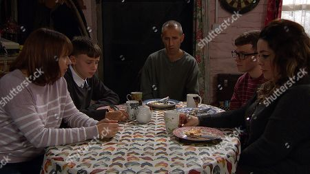 Ep 8651 & 8652 Tuesday 19th November 2019  Shellshocked Lydia, as played by Karen Blick, shares the news the news that her father died of Huntington's disease with Sam Dingle, as played by James Hooton, Samson Dingle, as played by Sam Hall, Mandy Dingle, as played by Lisa Riley, and Vinny, as played Bradley Johnson.