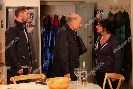 Stock Photo of Ep 8664 Monday 2nd December 2019  Drunk Moira Barton, as played by Natalie J Robb, messes up a business meeting by being drunk and inappropriate. Pete Barton, as played by Anthony Quinlan, tries to help but Moira shuts him down.