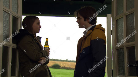 Stock Photo of Ep 8667 Wednesday 4th December 2019 At the cricket pavilion Danny, as played by Louis Healy, tries to offer Sarah Sugden, as played by Katie Hill, some pills. Will Noah Tate intervene?