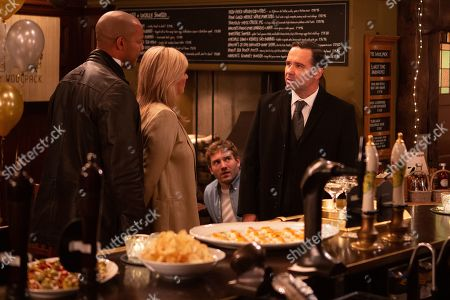 Ep 8658 & 8659 Tuesday 26th November 2019  Graham Foster, as played by Andrew Scarborough, receives a text from Kim Tate, as played by Claire King, asking for employees to meet her at the pub for an announcement. Graham's jaw drops when he arrives at the Woolpack and realises why Kim has thrown this party. Rhona Goskirk is scathing as she struggles to get her head around the revelation that Kim has made. With Jamie Tate, as played by Alexander Lincoln, Al Chapman, as played by Michael Wildman.