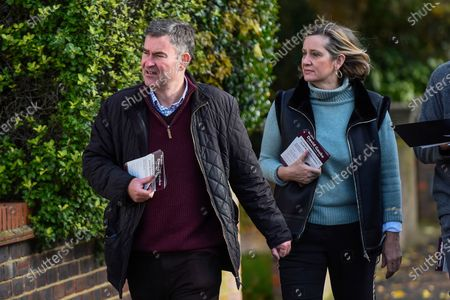 Former Justice Secretary David Gauke (L) campaigns in Rickmansworth as an independent candidate to be the MP of South West Hertfordshire, the seat he has held since 2005. Offering support to him on the general election campaign trail is former Home Secretary Amber Rudd (R), who has announced she will not be standing as an MP.