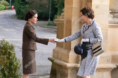 Stock Image of Geraldine Chaplin as Wallis Simpson and Olivia Colman as Queen Elizabeth II