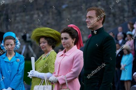Erin Doherty as Princess Anne, Marion Bailey as Queen Elizabeth the Queen Mother, Helena Bonham Carter as Princess Margaret and Ben Daniels as Antony Armstrong-Jones