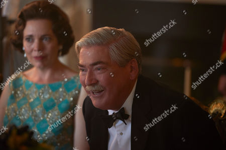 Stock Picture of Olivia Colman as Queen Elizabeth II and Jeremy Northam as Anthony Eden