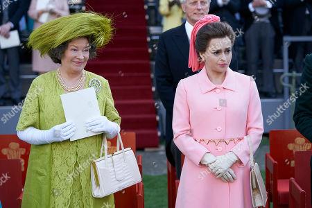 Marion Bailey as Queen Elizabeth the Queen Mother and Helena Bonham Carter as Princess Margaret