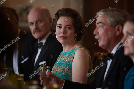 Stock Image of David Rintoul as Michael Adeane, Olivia Colman as Queen Elizabeth II and Jeremy Northam as Anthony Eden