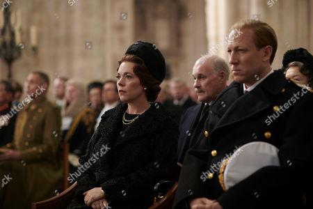 Olivia Colman as Queen Elizabeth II, David Rintoul as Michael Adeane and Tobias Menzies as Philip, Duke of Edinburgh