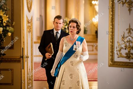 Stock Image of Charles Edwards as Martin Charteris and Olivia Colman as Queen Elizabeth II