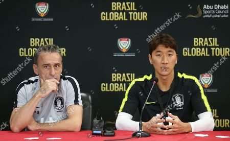 Stock Photo of South Korea's head coach Paulo Bento and player Jung Woo Young (R) attend a press conference in Abu Dhabi, United Arab Emirates, 18 November 2019. South Korea will face Brazil in their International Friendly soccer match on 19 November 2019 in Abu Dhabi.